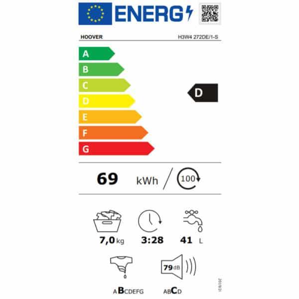 Hoover H-Wash 300 Lite Washing Machine 31010622 - Energy Label