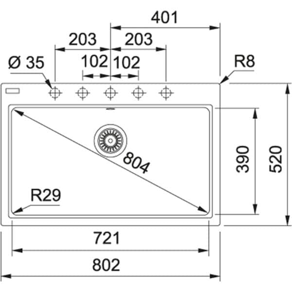 Franke Maris MRG 610-80 Kitchen Sink - Technical Drawings