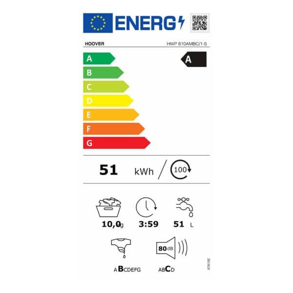 Energy Label - Hoover H-Wash 500 10Kg Washing Machine 31010284-b