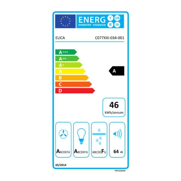 Energy Label - Elica Aplomb Wall Mounted Hood PRF0166940